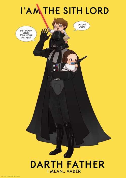 Darth Father (Vader) by Chinthya Anggraini. With little Luke Skywalker and Princess Leia! Star Wars.