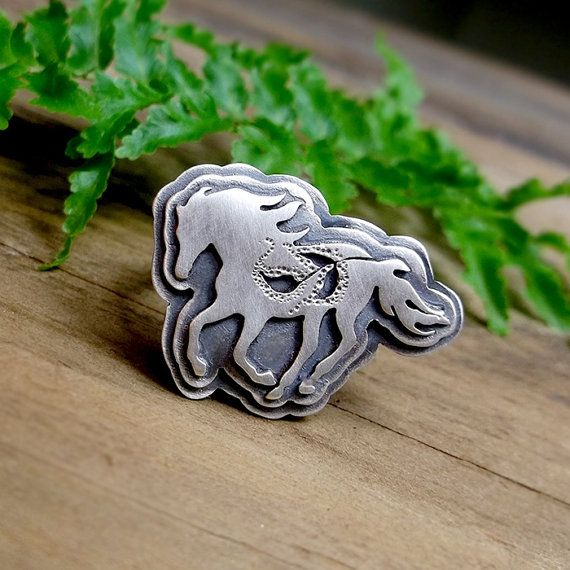 Ride a Wild Horse Ring Metalsmithed Layered Horse by LilyBlonde