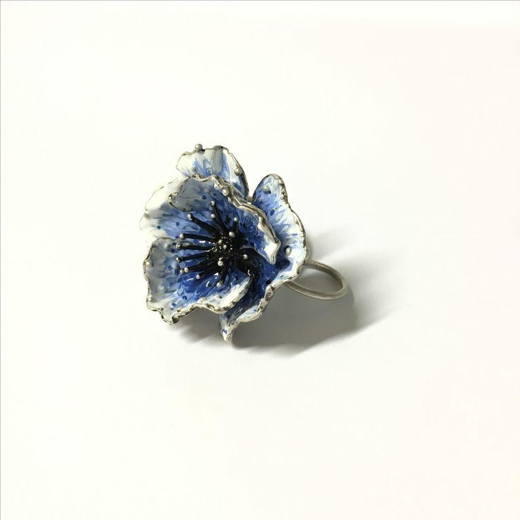 Anello papavero blu