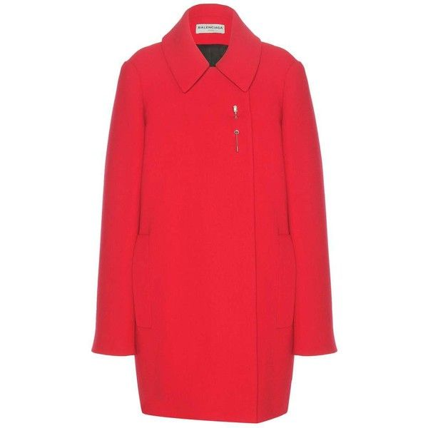 Balenciaga Embellished wool coat ($1,262) ❤ liked on Polyvore featuring outerwear, coats, red wool coat, red coat, wool coat, balenciaga coat and balenciaga
