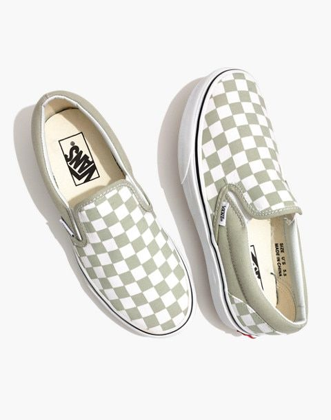 4d084026091 Vans® Unisex Classic Slip-On Sneakers in Desert Sage Checkerboard in desert  sage true white image 1