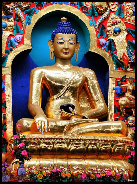 Coorg, India- This statue is one of three, is sixty feet tall, and covered in gold.  Inside a huge and beautiful Tibetan Buddhist Monastery.
