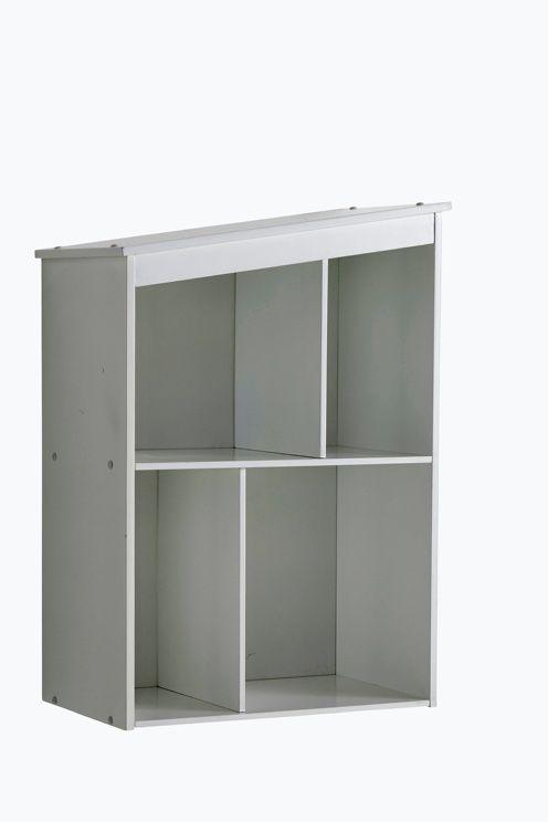 Funkisinspirert hushylle med faste hylleplan. Kan henges på veggen eller stilles opp. Av MDF. Høyde 70 cm, bredde…
