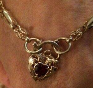 SOLD, 9K Gold Fancy Link Belcher Bracelet, SOLD Layby. 23 mm long, Heart Garnet Padlock, Victorian Style