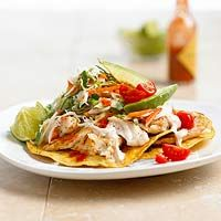 Fish Tostadas with Chili Lime Cream--I use sprouted corn tortillas frim Whole Foods