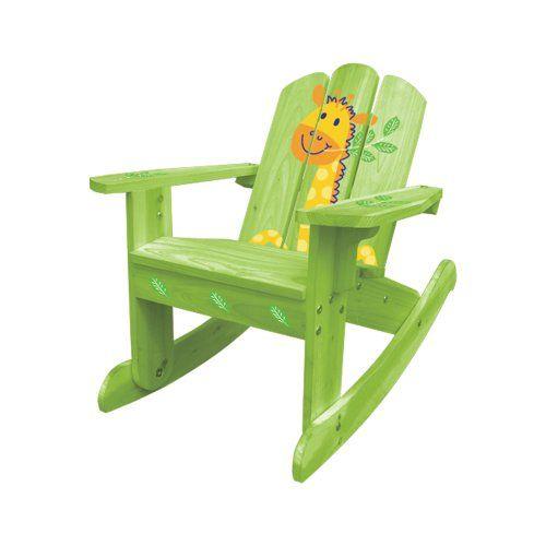 Lohasrus Kids Rocking Chair Green Giraffe Silk Screen