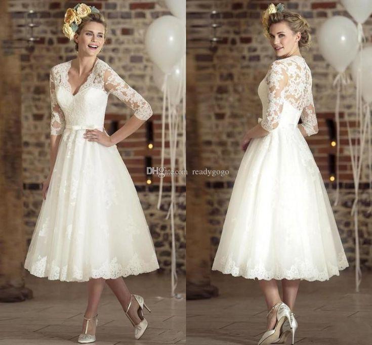 Vintage Tea-length Wedding Dresses with Half Sleeves 2019 Retro V-neck Lace Tulle Casamento Vestidos De Short Wedding Dress Bridal Gown