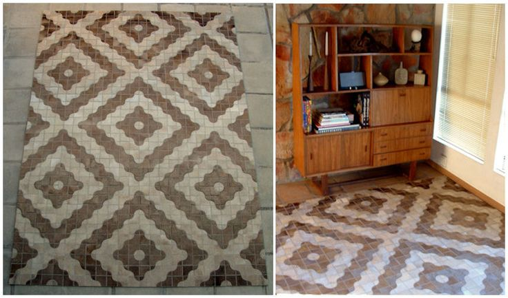 Fusion stitch / Mid-Century layout / Solid ivory hide / 2.4M X 3.4M / www.johnoduplessis.co.za