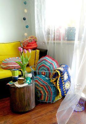 crochet pillows, crochet blanket, my living room