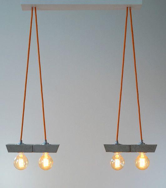 "Deckenlampen - ""papilio/2"" Betonlampe. - ein Designerstück von Uniikat-Shop bei DaWanda  ------------------------Lamp, Lampe, Beton, Design, Concrete, Fabric Cable, concrete lamp, Hängelampe, pendant,  industrial, Lampe, Beton,  Textilkabel"