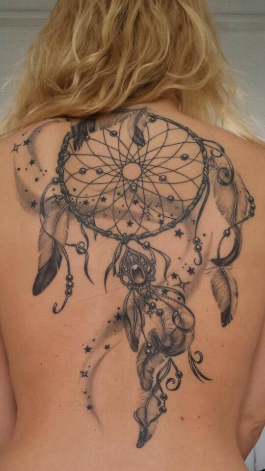 dreamcatcher back tattoo                                                                                                                                                                                 More