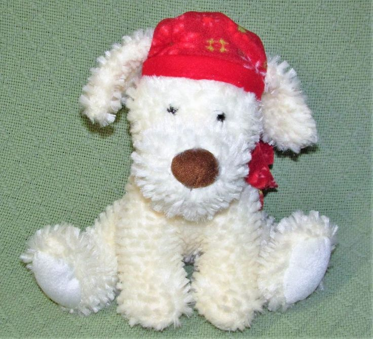 NWT American greetings CHILLY DOG Plush Stuffed Cream Puppy with Red Hat & Scarf #AmericanGreetings