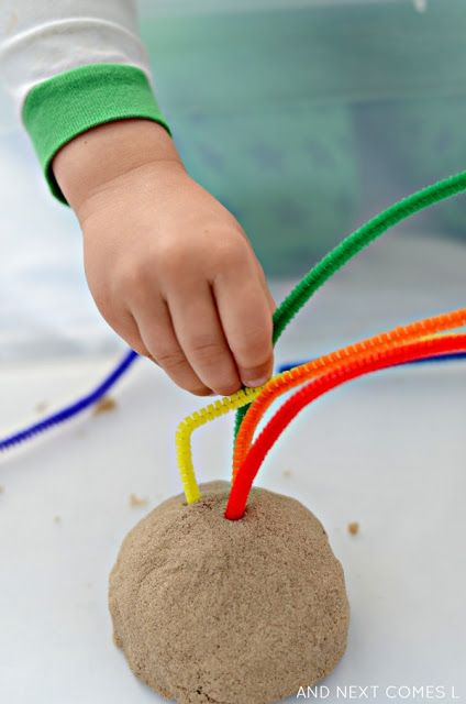 Cool Fine motor activity for kids kinetic sand rainbows from And Next Comes L