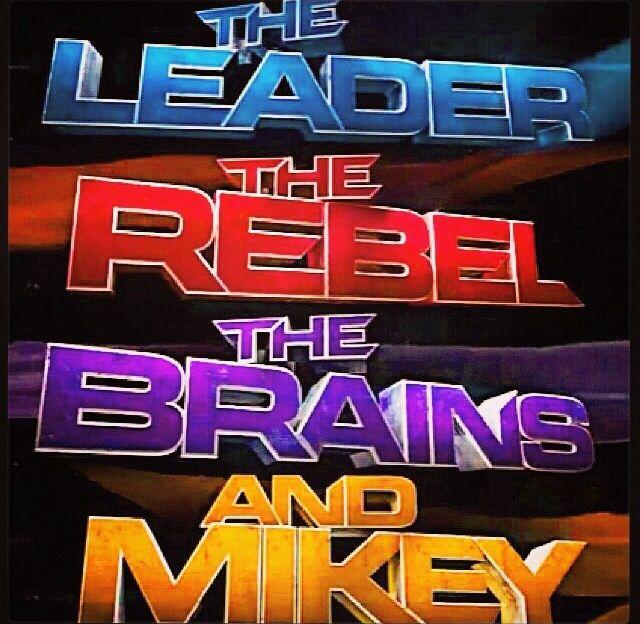 LOL! and Mikey.  Leonardo the leader, Raphael the Rebel, Donatello the Brains.