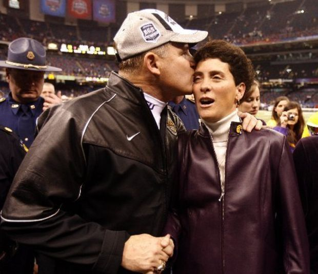 "LSU football coach Les Miles, pictured with wife Kathy after the 2008 BCS championship game, says his wife is a ""great talent scout."