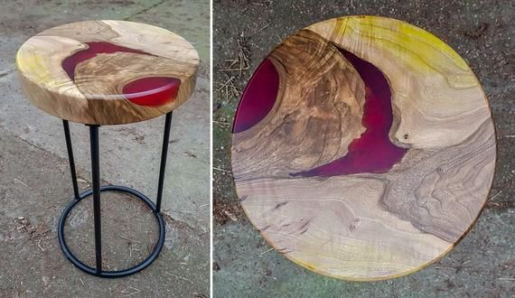 5 Wooden Stool Tops With Color Resin And Glowing Effects With