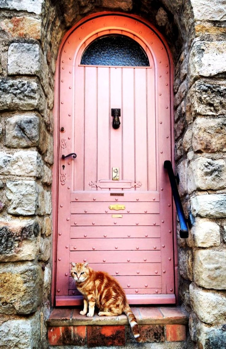 Les Arcs, Var, France.....WITH INSTALLATION OF THIS PINK DOOR, A BEAUTIFUL CAT IS INCLUDED......THE DOOR, IN TIME, WILL NEED A RE-PAINT JOB --- THE FELINE - N E V E R -..........ccp