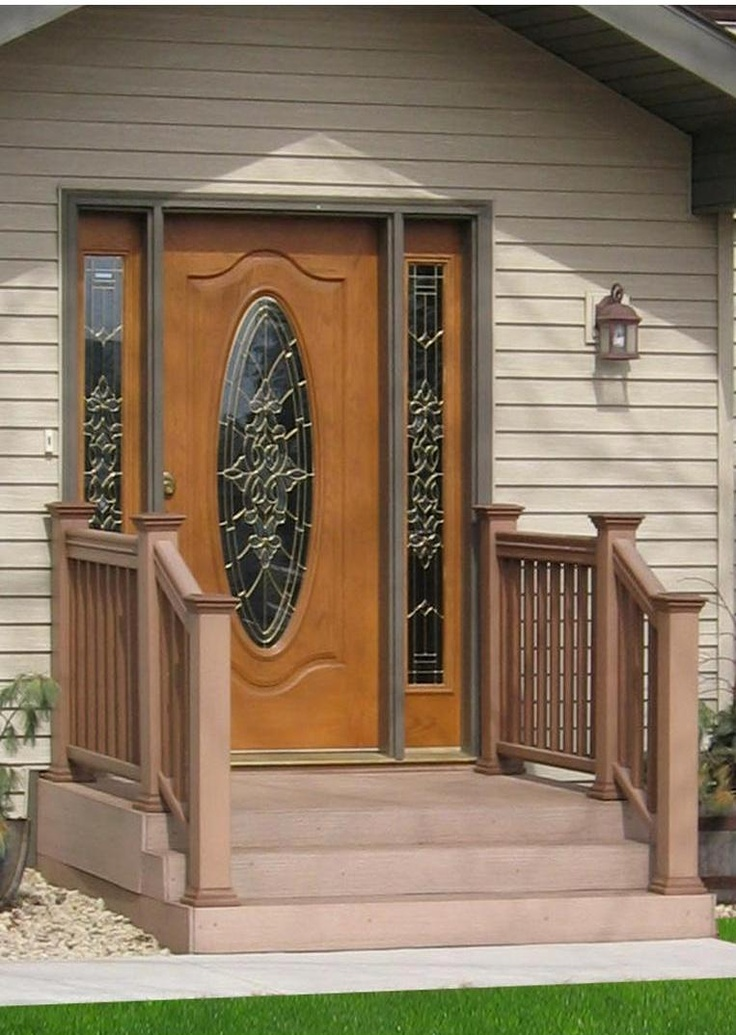 Gorgeous Pella door with side-lites and glass etching ...