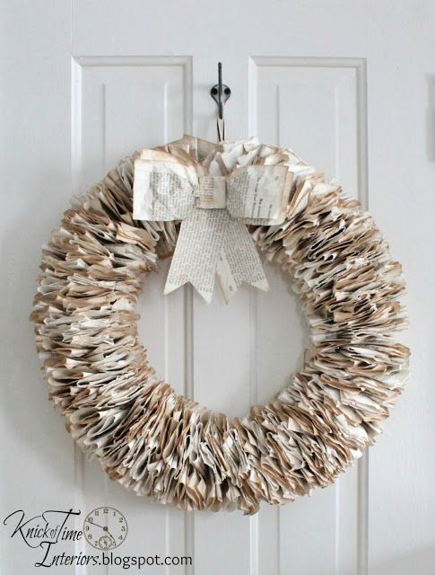 Book Page Wreath Tutorial - the $3 wreath you can hang year-round!  ~~via http://knickoftimeinteriors.blogspot.com/