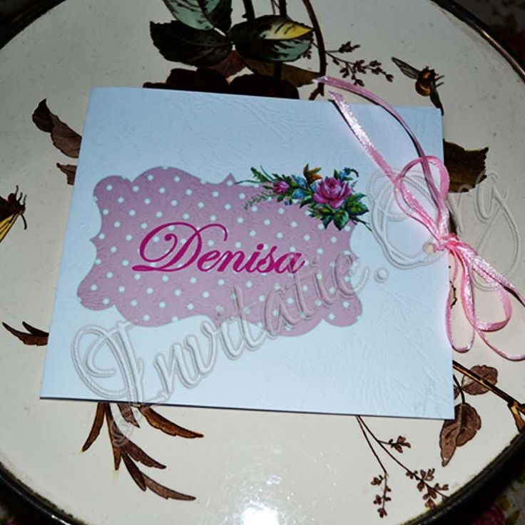 Invitatie Handmade cu flori roz elegante!