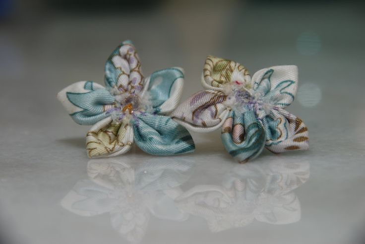 Pale Blue Flower Stud Earrings by FlowerPowerByIlia on Etsy