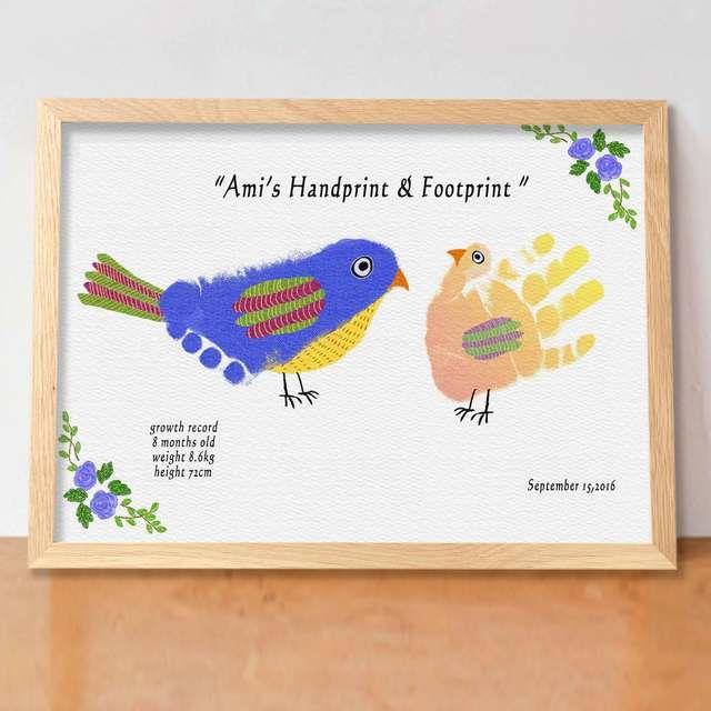 ver.小鳥 (額付 送料無料)実寸手形アート·メモリアルポスター バースデーポスター·ベビーポスター