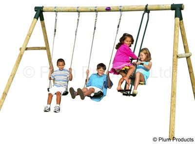 Plum Colobus Wooden Swing Set with FREE Accessory