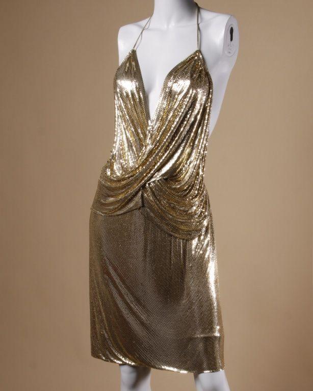 1970 S Gold Disco Dress Disco Dress 70s Dress Disco Fashion