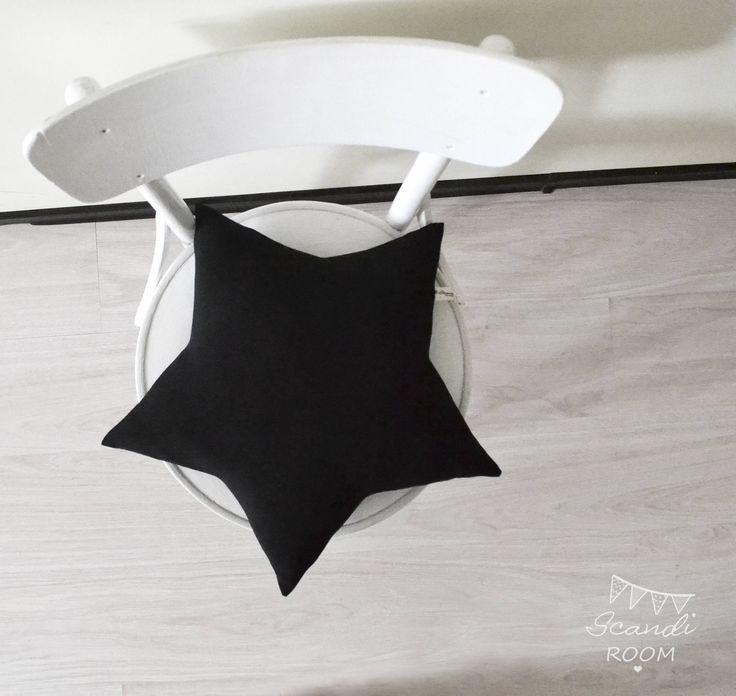 Soft black pillow Star. cushion kids. Nursery Decor. Scandinavian Cushion. Nordic style. Scandinavian style.  Kids pillow Star. Gift for Her by ScandiROOM on Etsy