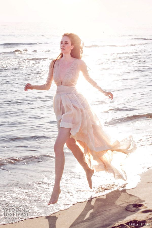 leila hafzi bridal 2013 victoria sleeveless short to long wedding dress. Perfect for a Beach Wedding