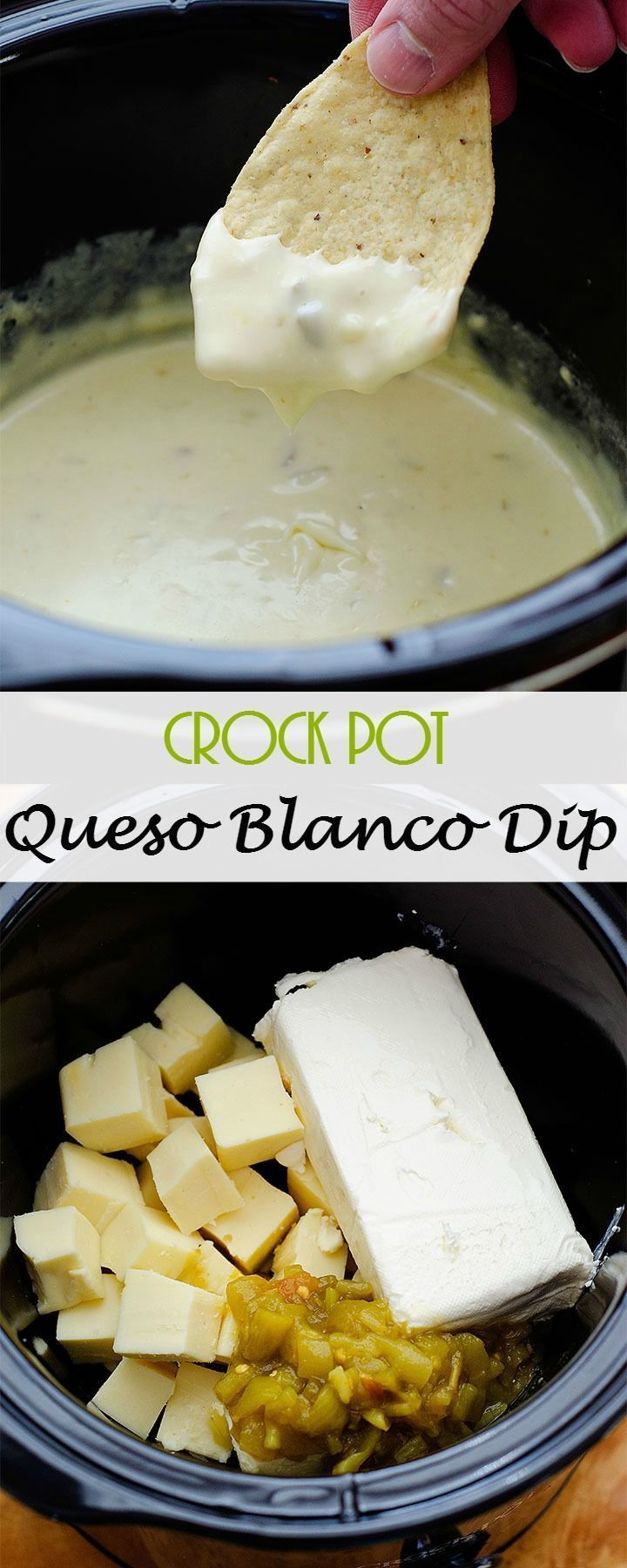 This homemade Crock Pot Queso Blanco Dip is one of the most delicious queso dips you'll ever make. It's so easy, just throw everything into a crock pot and let it do it's thing. Warm gooey white cheese with green chilies, perfect snack for the big game.