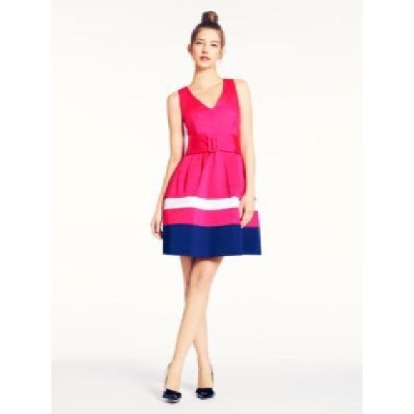 Kate Spade Pink White & Navy Striped Sawyer Dress New Without Tags....Gearing up for wedding season? This lovely dress by kate spade new york is the dress for you! The waist-cinching belt and full skirt style will have you looking polished and ladylike all through the event. For day or night, dress it up with accessories Coral Striped Cotton (98% Cotton, 2% Spandex). Sleeveless. V- neckline. Full skirt with pockets and attached belt at waist. Exposed back zipper with hook-and-eye closure…