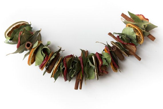 Dried laurel leaves swag, dried fruit and leaves decor, Italian natural leaves garland, natural fireplace swag, dried sliced orange garland