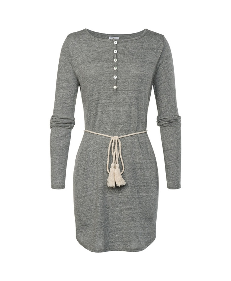Maggie Dress: Long sleeve V-neck Henley dress with belt. Available in medium