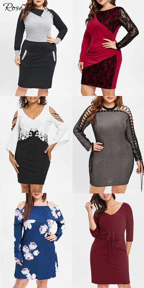 4ebd8f74a90 Nouvelle robes de grande taille Robes manches longues pour hiver et  printemps  Rosegal  femme