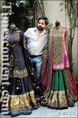 Fashion designer Sabyasachi Mukherjee seen with his new collection at 85 Lansdown in Kolkata on November 27, 2008.