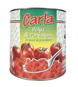 La Pulpe de Tomate Carla est produit avec les meilleures tomates italiennes qui sont cultivées au Sud d'Italie: les tomates mûres et pelées, après être lavées, sont épluchées pour enlever les peaux, puis elles sont coupées en morceaux et mis dans des boites stérilisées rempli avec du jus de tomate naturel, sans conservateurs ni arômes artificiels.