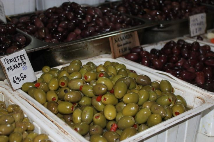 Olives by the bucket load at Athens Central Market