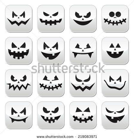 Scary Halloween pumpkin faces buttons set by RedKoala