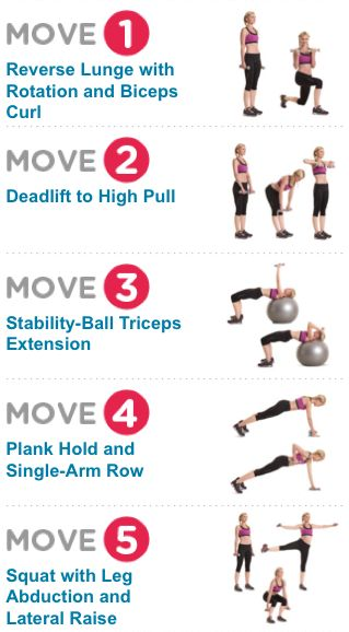 2-in-1 Strength-Training Exercises! Multitask your way to a better bod (5 of 8 moves shown)