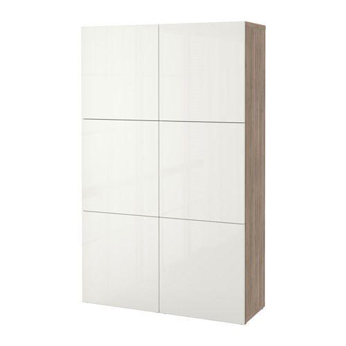 BESTÅ Opberger met deuren, grijs gelazuurd walnootpatroon, Selsviken hoogglans/wit grijs gelazuurd walnootpatroon/Selsviken hoogglans/wit 120x40x192 cm -
