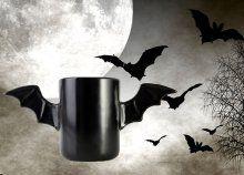 Páratlan design-nal elátott, minőségi kerámiából készült Batman bögre, denevérszárny fülekkel, fekete színben