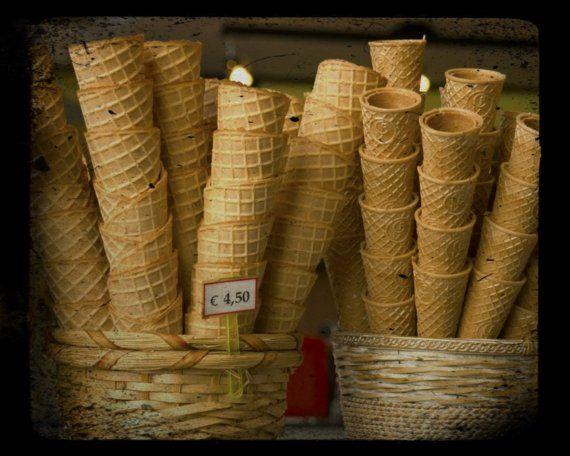 Gelato photograph, ice cream cones photo, kitchen art, whimsical, tasty treats, basket, ice cream shop, Italy, italian - Gelato to Go