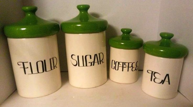 Vintage 60s 70s Ceramic Canister Set Green Dome Tops by HOLIDAY DESIGNS USA