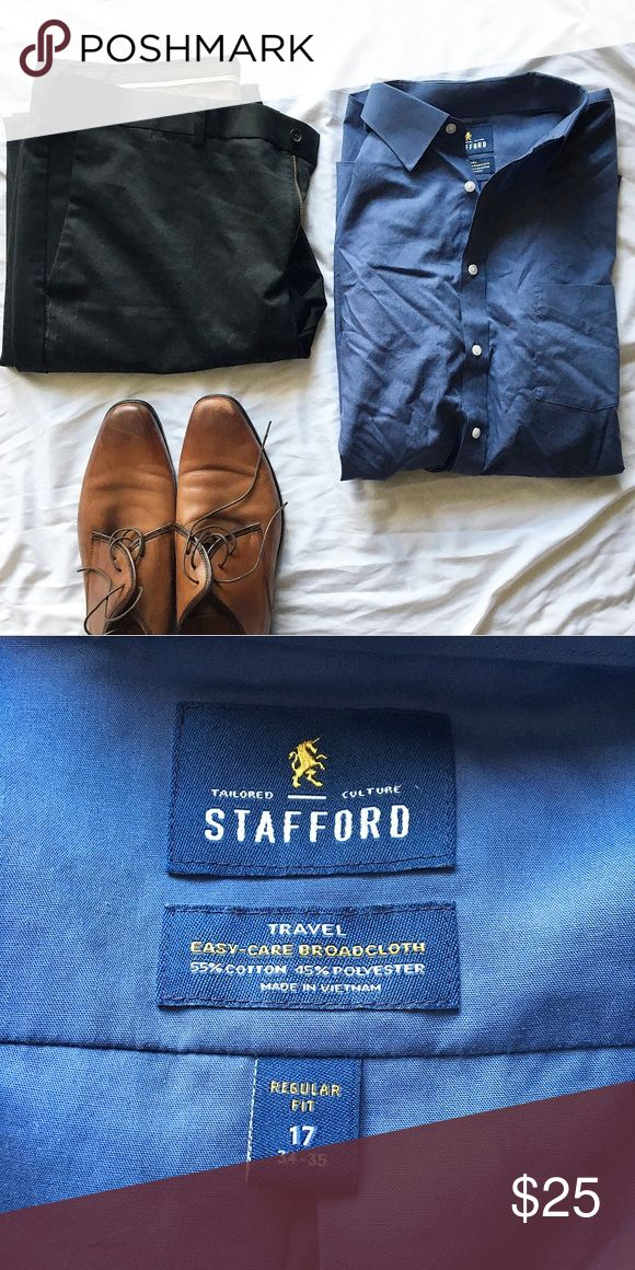 Men's Dress Button-Down Crisp and classic. Perfect for a day in the office or a night on the town. Long sleeved. ⭐️Bundle Discount Available⭐️ Stafford Shirts Dress Shirts