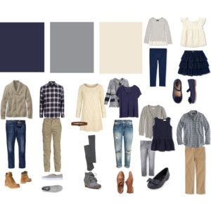 Navy, Gray, Cream family photo shoot color scheme