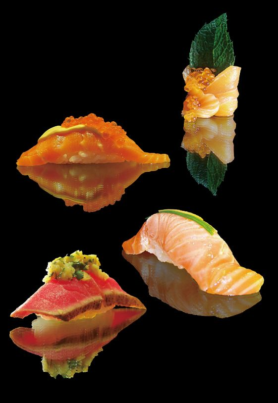 """sushi 寿司 Bruce says, """"Gorgeous presentation but I have to think it came from a non-Japanese chef given the cultural phobia of items in 4's."""""""