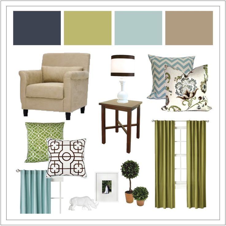Navy Blue Living Room design boards | also did a quick sketch of the space to give my client an idea of ...