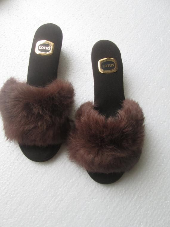 577303aeb7c76 Vintage Mule Slippers size 6 made by Lotus British Made 1970's very ...