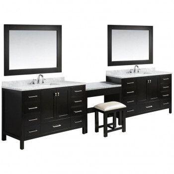 84 inch double basin sink vanity makeup table in espresso rh pinterest com